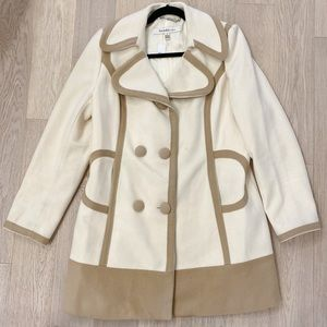 Laundry by design wool lined cream and taupe coat